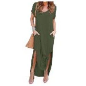 Women's Casual Long Maxi Dres Short Sleeve
